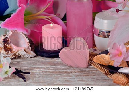 Spa Decoration Lilies, Candles And Sea Shells