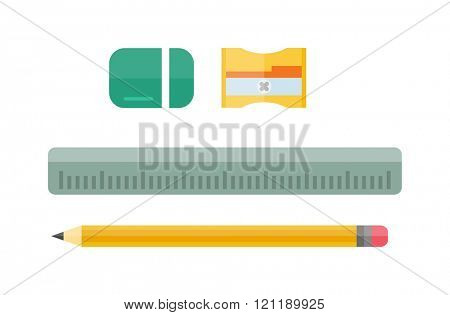School tools supplies assortment individually isolated on white. Vector illustration set tools pencil, ruler, eraser, pencil sharpener. School tools in the style of a flat design. School tools vector