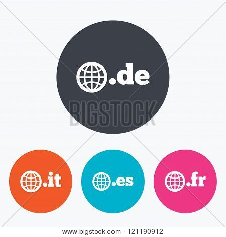 Top-level domains signs. De, It, Es and Fr.