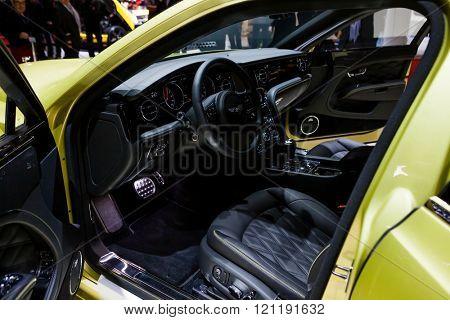 GENEVA, SWITZERLAND - MARCH 1: Geneva Motor Show on March 1, 2016 in Geneva, Bentley Mulsanne Speed, interior