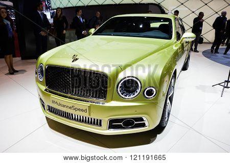 GENEVA, SWITZERLAND - MARCH 1: Geneva Motor Show on March 1, 2016 in Geneva, Bentley Mulsanne Speed, front view