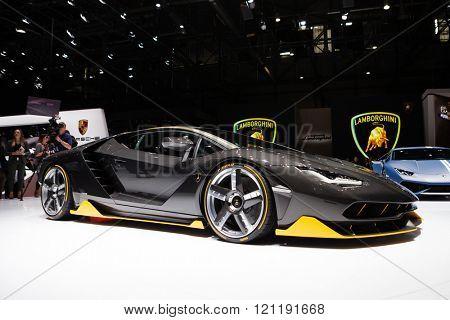 GENEVA, SWITZERLAND - MARCH 1: Geneva Motor Show on March 1, 2016 in Geneva, Lamborghini Centenario, side-front view