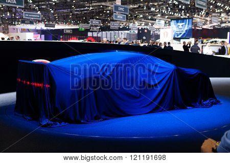 GENEVA, SWITZERLAND - MARCH 1: Geneva Motor Show on March 1, 2016 in Geneva, Bugatti Chiron, under cover view