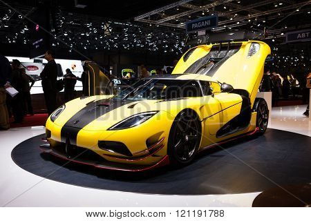 GENEVA, SWITZERLAND - MARCH 1: Geneva Motor Show on March 1, 2016 in Geneva, Koenigsegg Agera ML, side-front view