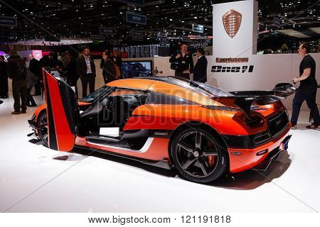 GENEVA, SWITZERLAND - MARCH 1: Geneva Motor Show on March 1, 2016 in Geneva, Koenigsegg One of One, rear-side view
