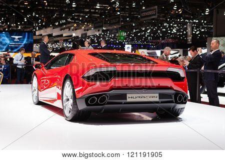 GENEVA, SWITZERLAND - MARCH 1: Geneva Motor Show on March 1, 2016 in Geneva, Lamborghini Huracan, rear-side view