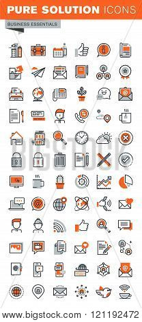 Set of thin line web icons of basic business tools