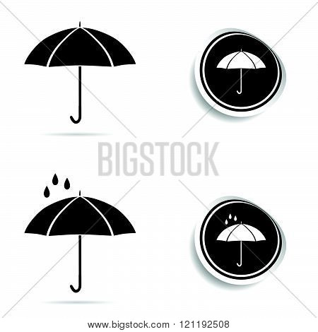 Umbrella black icon Set Illustration