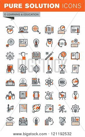 Set of thin line web icons for e-learning