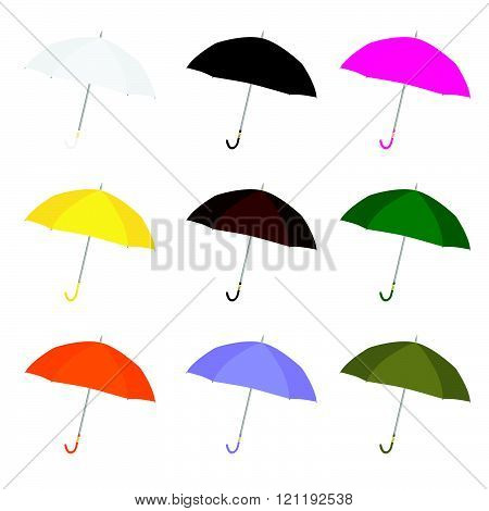 Umbrella Color Set Illustration