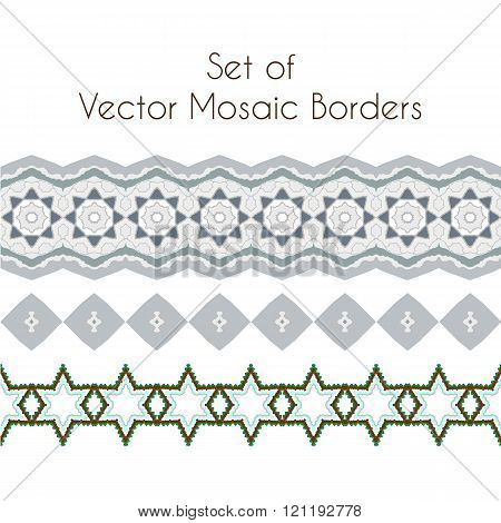 Set of vector exquisite filigree borders or brush style mosaics and inlay