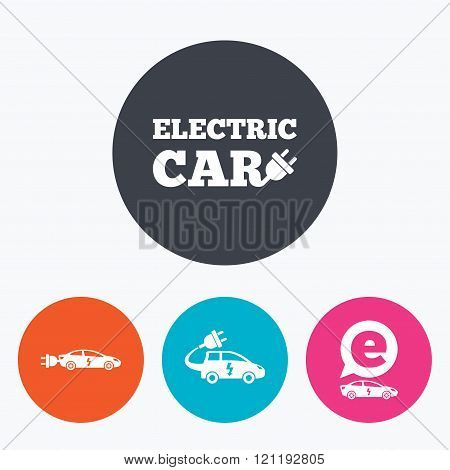 Electric car sign. Sedan and Hatchback transport