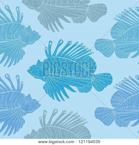 Venomous marine fish seamless pattern