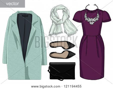 Lady fashion set of autumn, winter season outfit. Illustration stylish and trendy clothing. Vector.