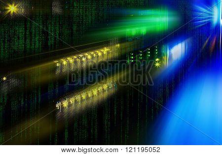 futuristic photo supercomputer in the data center with binarre code