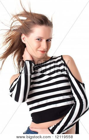 Sexy Bright Young Woman With Waving Hair