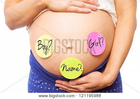 Pregnant woman with stickers on bump against name message