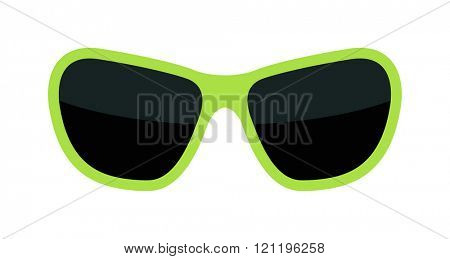 Vector fashion green glasses isolated on white. Fashion green glasses. Hipster fashion green glasses. Summer  fashion glasses vector illustration. Sunglasses green  isolated vector illustration