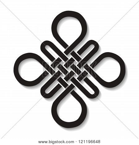 Auspicious Endless knot.Buddhist symbol.Black