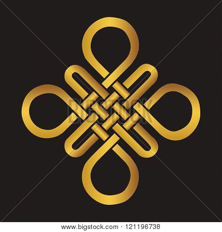 Auspicious Endless knot.Buddhist symbol.Gold