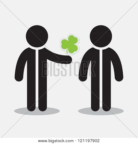 Greeting Card - Two Figures And Shamrock