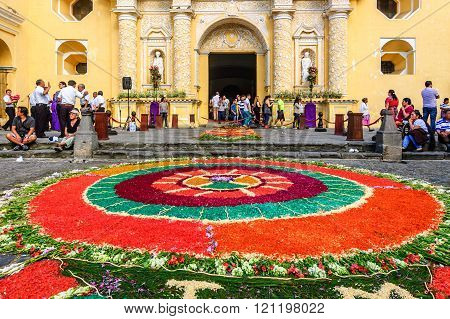 Lent Carpet In Front Of La Merced Church, Antigua, Guatemala