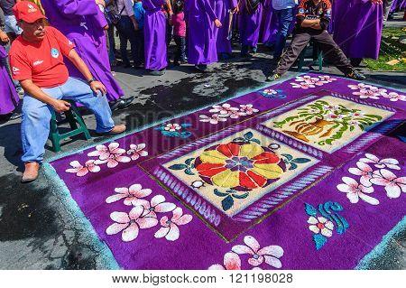 Purple Floral Lent Carpet, Antigua, Guatemala
