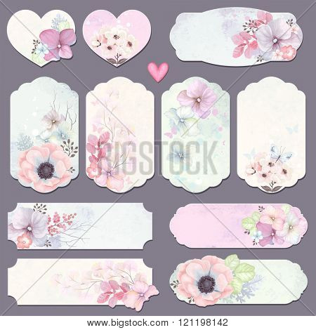 Collection holidays labels with design elements, butterfly and flowers, vector illustration in vintage style on watercolor background.