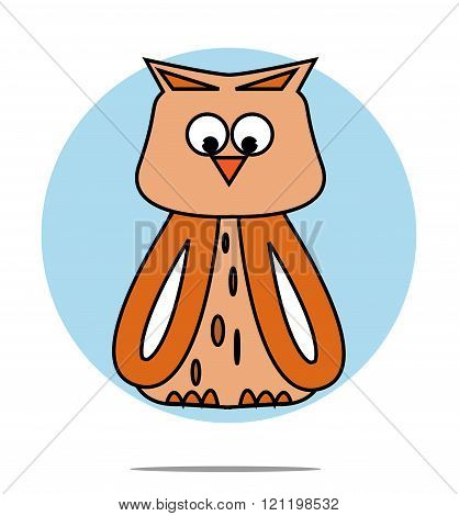 Illustration Of A Owl With Blue Circle Background