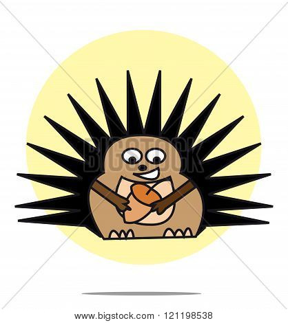 Illustration Of Hedgehog With Yellow Circle Background