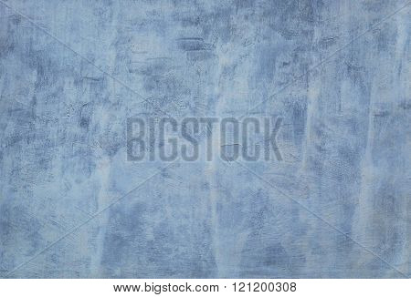Whitewashed Dirty Blue Concrete Wall.