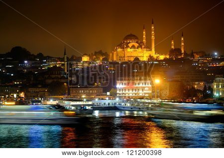 Night View Of The Bosphorus Strait