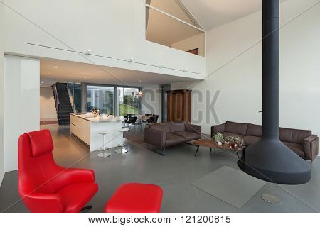 Interior of a modern house, wide open space