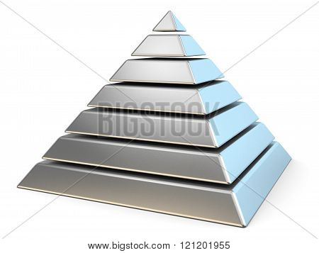Steel pyramid with seven levels. 3D