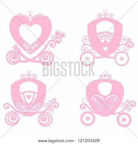 Fairytale Royal Pink Princess Carriage, Vector Vintage  Girl Carriage, Online Store, Logo, Silhouett