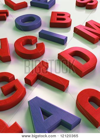 Wooden letters on a reflective surface. Digital illustration.