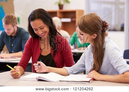 Teacher and student work together at adult education class