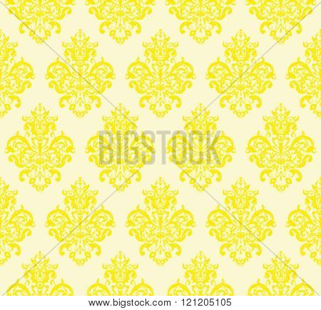 Yellow Seamless repeating Vector Pattern. Elegant Design in Baroque Style Background Texture.