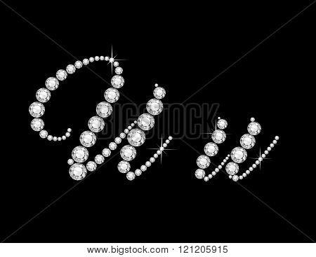 Uu Diamond Script Jeweled Font