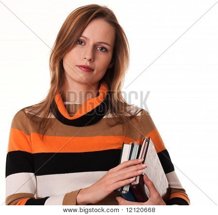 Young Woman Holding Books Under Her Arm