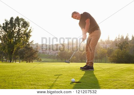 Male Golfer Putting Ball Into Hole On Green