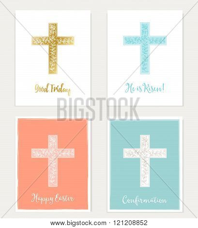 Set of Cross and Flowers Christian Cards. Easter, Good Friday, Confirmation.