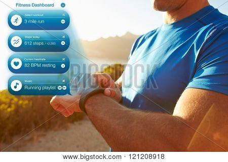 Concept Shot Of Man Checking Notifications On Health Tracker
