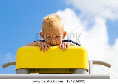 Child Kid In Playground Climbing Playing.