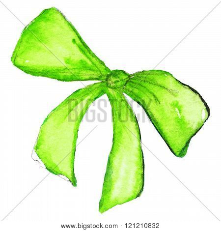 Watercolor Neon Green Bow Tape Ribbon Isolated