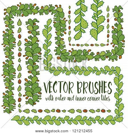 Set of hand drawn vector pattern brushes