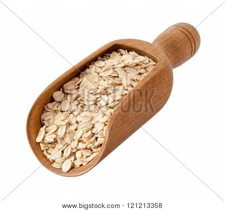 Organic Rolled Oats In A Wood Scoop