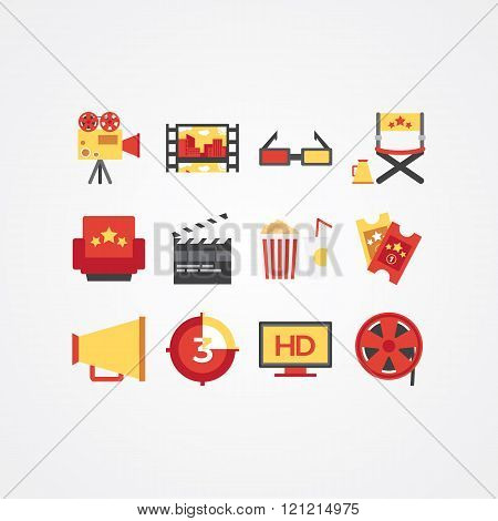 Creative movie icon set. Different cinema vector flat icons