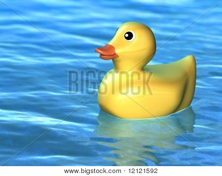 Cute toy duck floating on a water surface. Digital illustration.