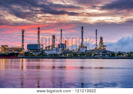 Twilight scene of oil refinery plant.